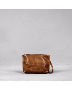 Shoulderbag cutted leather Light Brown