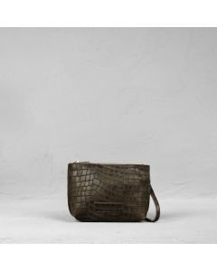 Cross body small printed leather Olive Brown