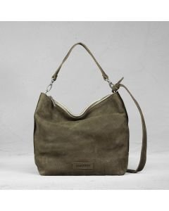 Shoulderbag waxed grain leather olive green