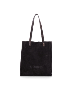 Shoppingbag-waxed-suede-with-polished-leather-Black