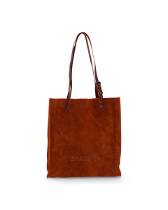 Shoppingbag-waxed-suede-with-polished-leather-Orange