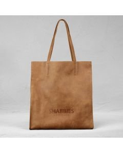 Shopping bag hand buffed leather Cognac