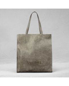 Shopping bag hand buffed leather Taupe