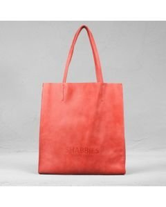 Shopping bag hand buffed leather Red