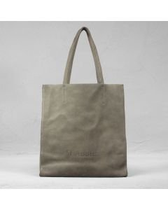 Shopping bag grain leather Taupe