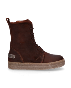 KIDS-//-Ankle-boot-lace-up-waxed-suede-Brown-28-35