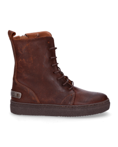 Kids-ankle-boot-lace-up-waxed-suede-Brown-28-35