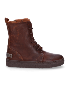 Kids-ankle-boot-lace-up-waxed-suede-Brown-36-39