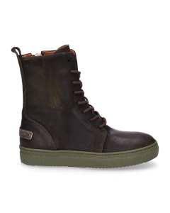 Kids-ankle-boot-lace-up-waxed-suede-Dark-Green-28-35