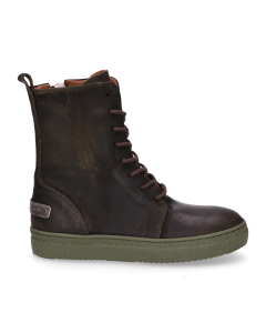Kids-ankle-boot-lace-up-waxed-suede-Dark-Green-36-39
