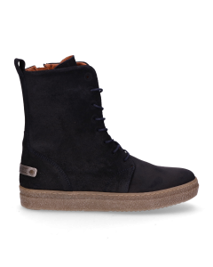 Kids-ankle-boot-lace-up-waxed-suede-Navy-Blue-36-38