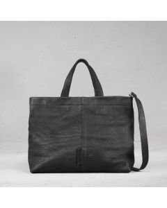 Shoulderbag waxed grain leather Black