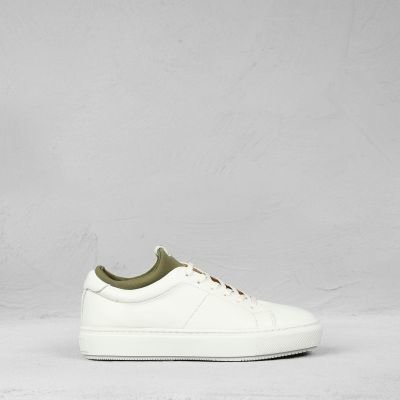 Sneaker-smooth-leather-white-olive