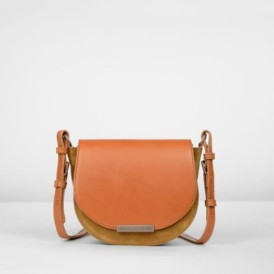 Shoulderbag-suede-Cognac