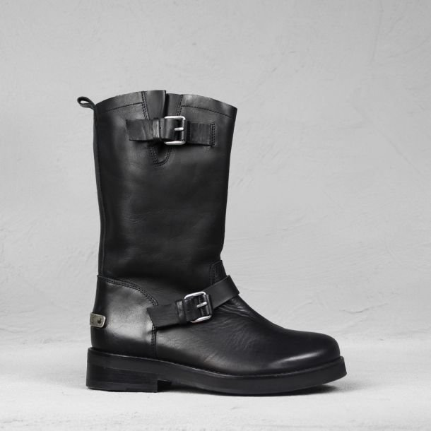 High bikerboot smooth leather black