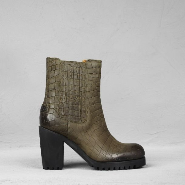 Ankle boot printed leather Olive Brown