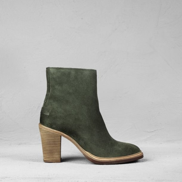 Ankle boot suede Dark Olive