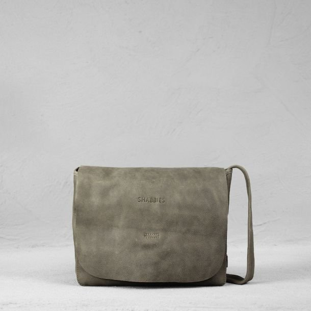 Shoulderbag hand buffed leather Taupe
