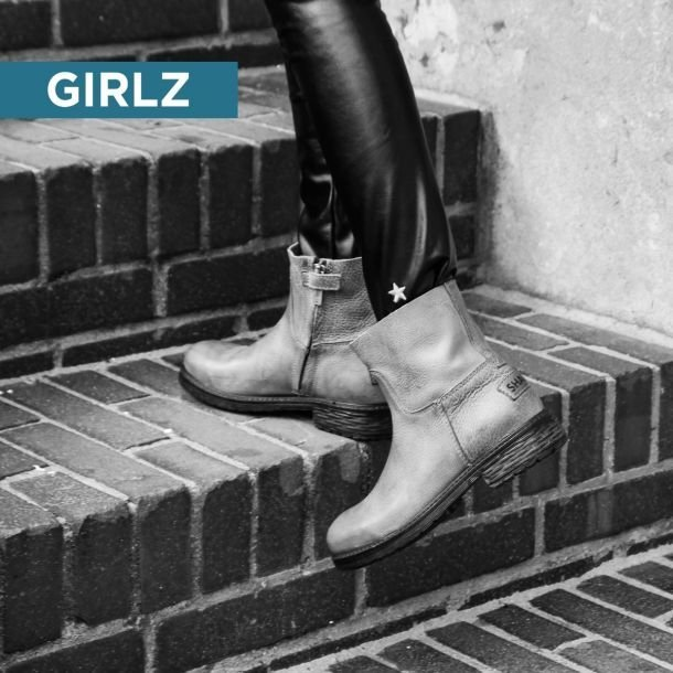 Kids ankle boot grain leather Grey