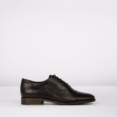 Lace-up-shoe-lizzard-printed-leather-Dark-Brown