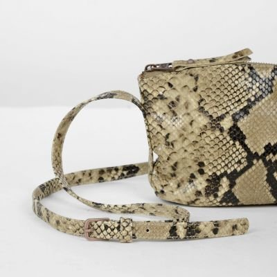 Shoulderbag-snakeprinted-leather-Taupe