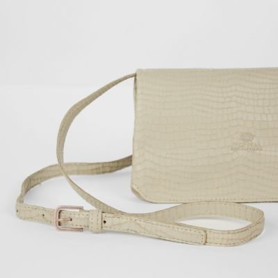 Shoulderbag-croco-printed-leather-Taupe