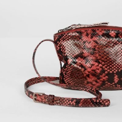 Shoulderbag-snake-printed-leather-Red